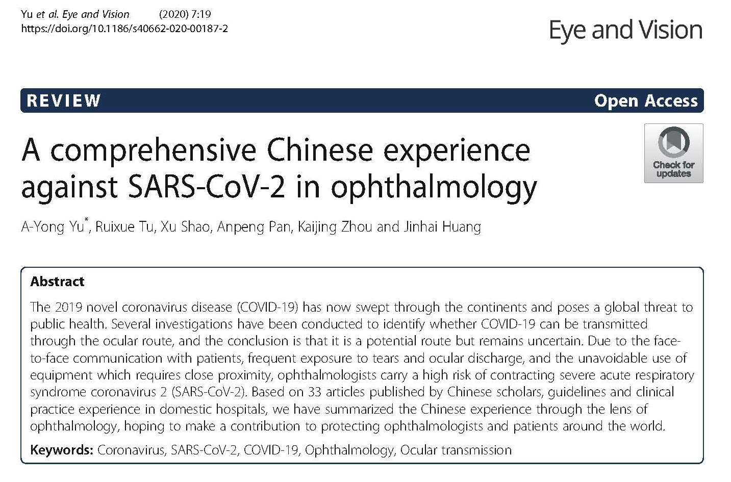 A comprehensive Chinese experience against SARS-CoV-2 in ophthalmology